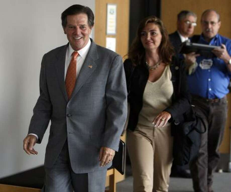 """Former U.S. House Majority Leader Tom DeLay takes a break at his pretrial hearing in Austin on Tuesday. DeLay said the only trial questions remaining were """"when and where."""" Photo: Ricardo B. Brazziell, Austin American-Statesman"""
