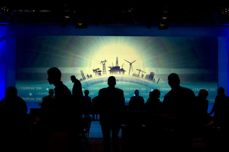 Attendees prepare for a panel discussion Monday at the IHS CERAWeek conference, a gathering of energy industry leaders held at the Hilton Americas-Houston downtown. Photo: Johnny Hanson:, Chronicle