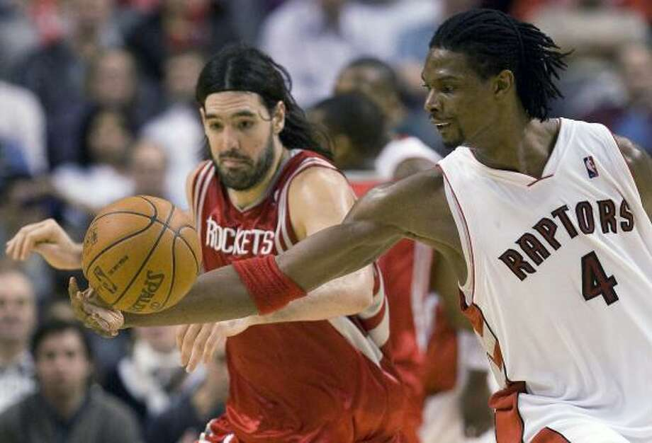 "Chris Bosh, right, indicated through third-party intermediaries that he ""definitely"" would consider the Rockets. Photo: Frank Gunn, AP"