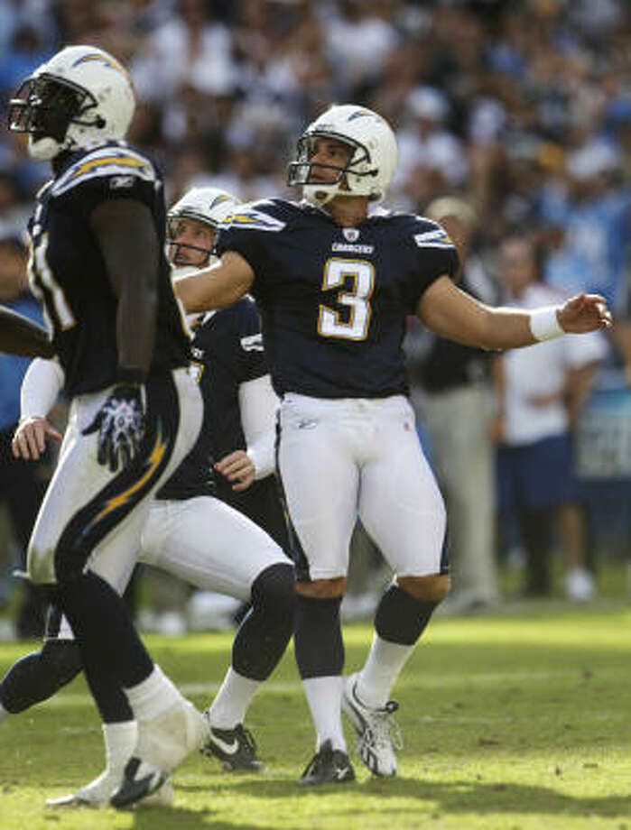 Kris Brown will be kicking in the familiar confines of Reliant Stadium, but this time he will be doing it for the Chargers. Photo: Lenny Ignelzi, AP