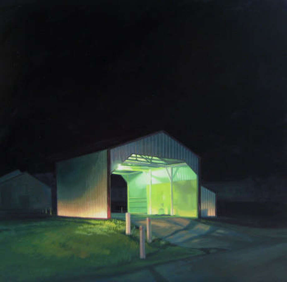 """A vacant building provides mystery to Sarah Williams' 2009 night landscape """"Truck Wash"""" Photo: McMURTREY GALLERY"""