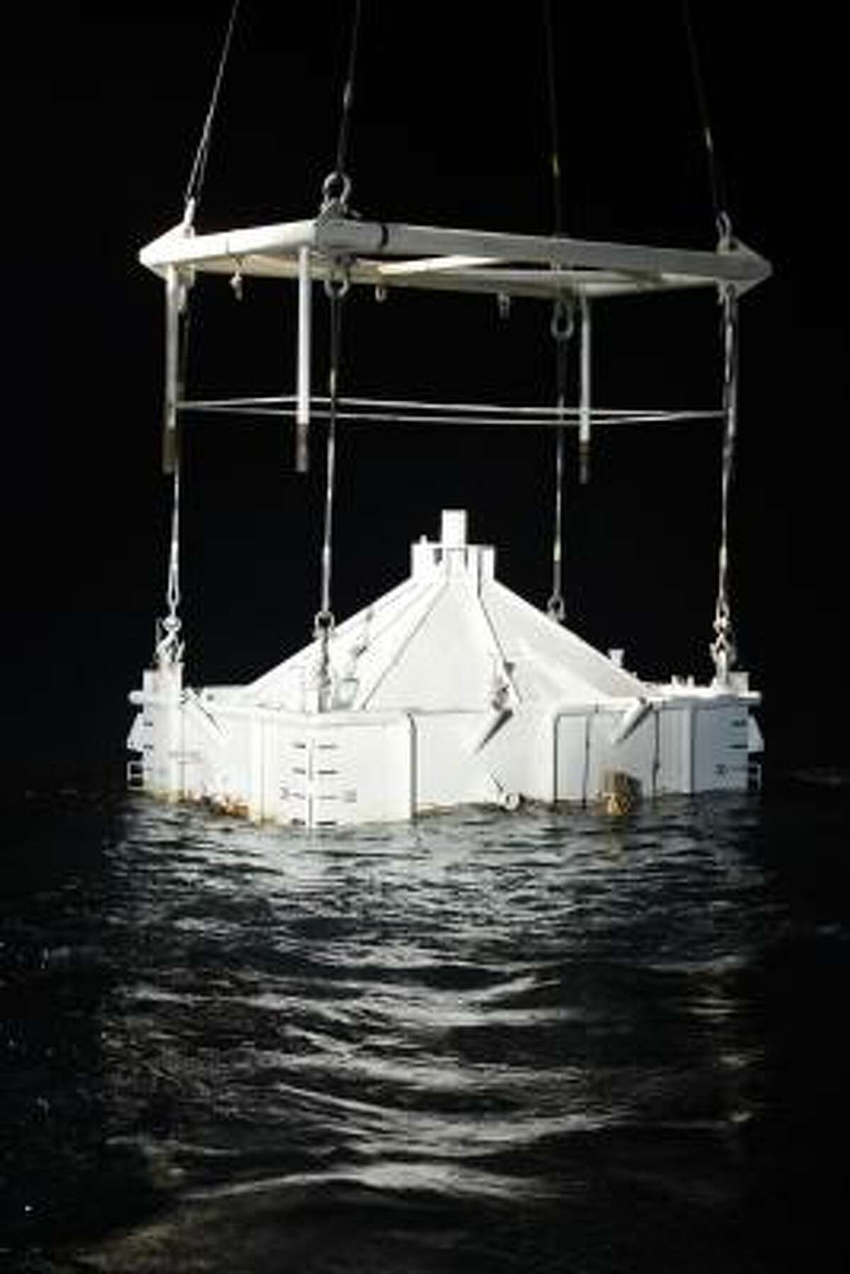 This is the containment vessel lowered into the Gulf of Mexico at the site of the Deepwater Horizon rig collapse.