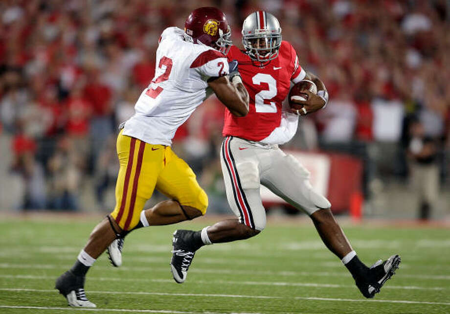 Safety Taylor Mays, left, from USC could be an option for the Texans in the first round. Photo: Andy Lyons, Getty Images