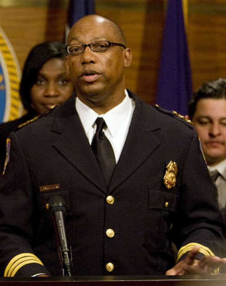 Charles McClelland, shown during his 2010 appointment to the HPD chief post, says he went to check on the victim after the accident. Photo: James Nielsen, Chronicle