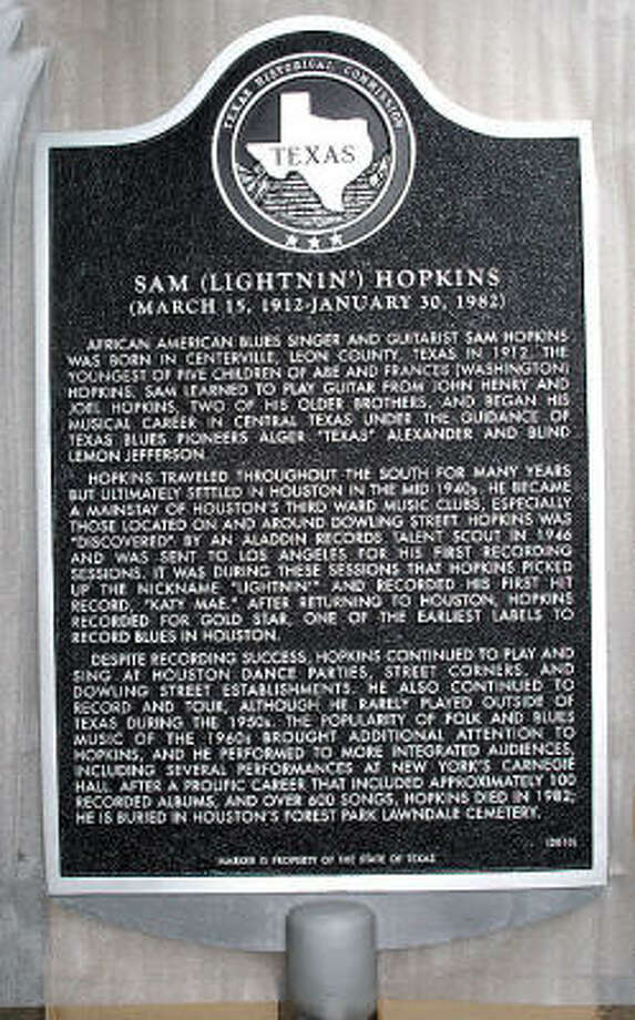 "Texas state historical marker tells the story of Sam ""Lightnin"" Hopkins. Photo: ERIC DAVIS, For The Chronicle"