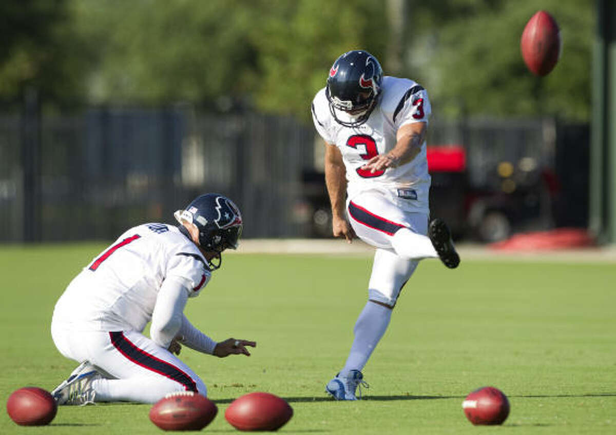 Kris Brown, the last original Texan, struggled with field goals last season, prompting the signing of Neil Rackers.