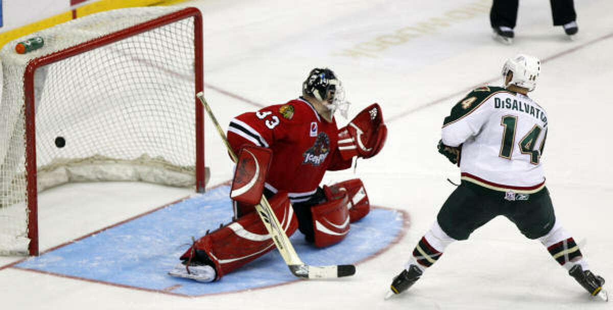 Aeros right wing Jon DiSalvatore scores during Monday's shootout against the Rockford Icehogs at Toyota Center.