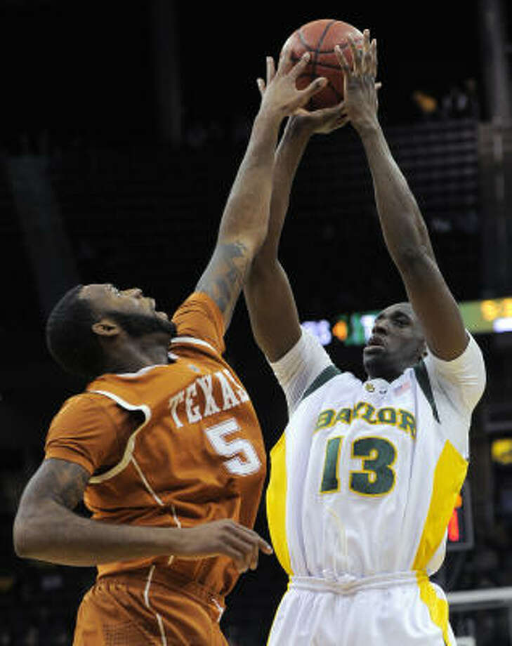 Ekpe Udoh and Baylor enter the Tournament as Texas' highest-seeded team while Damion James and Texas had a poor second half resulting in a No. 8 seed. Photo: Reed Hoffmann, AP