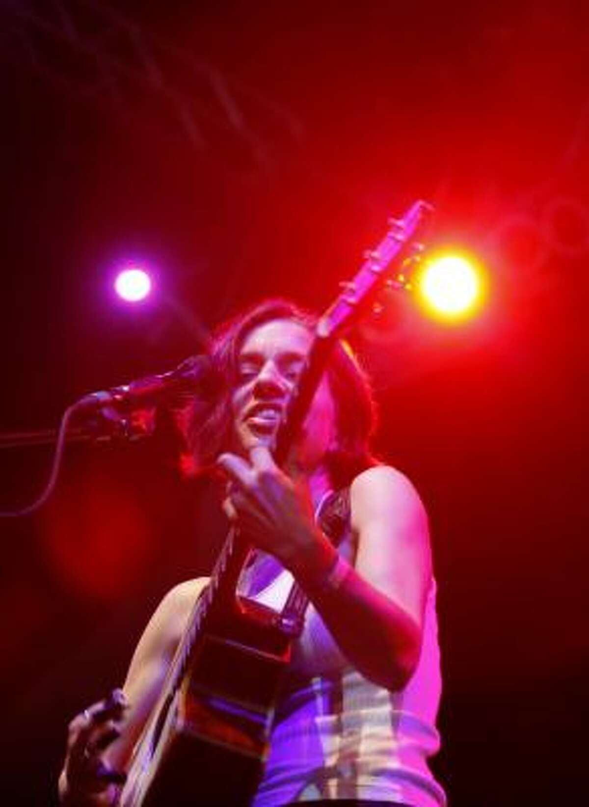 Ani DiFranco performs at the New Orleans concert on Sunday raising money for fishermen affected by the oil spill.
