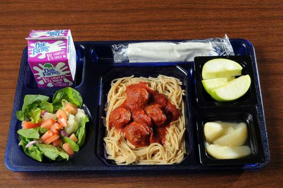 The whole grain spaghetti with meat balls meal at Mittelstadt Elementary School