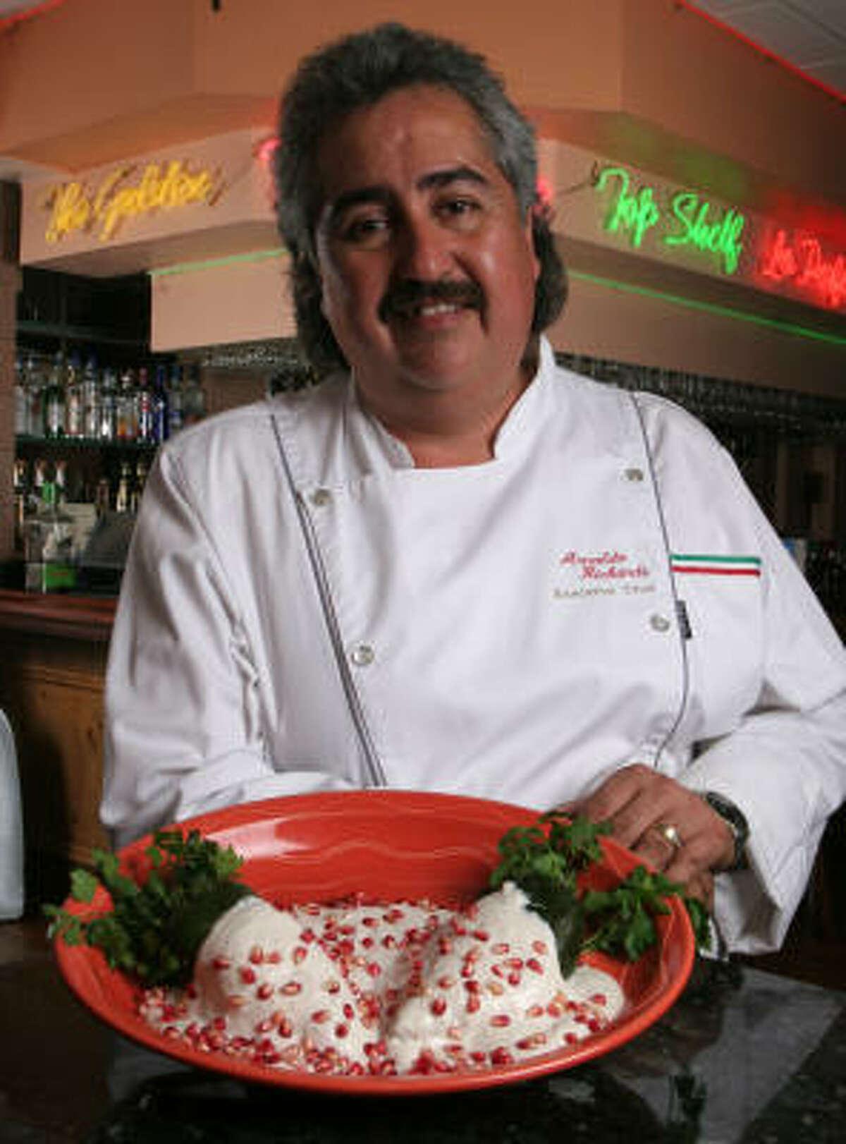 Arnaldo Richards shows off Chiles en Nogada from Pico's Mex-Mex.
