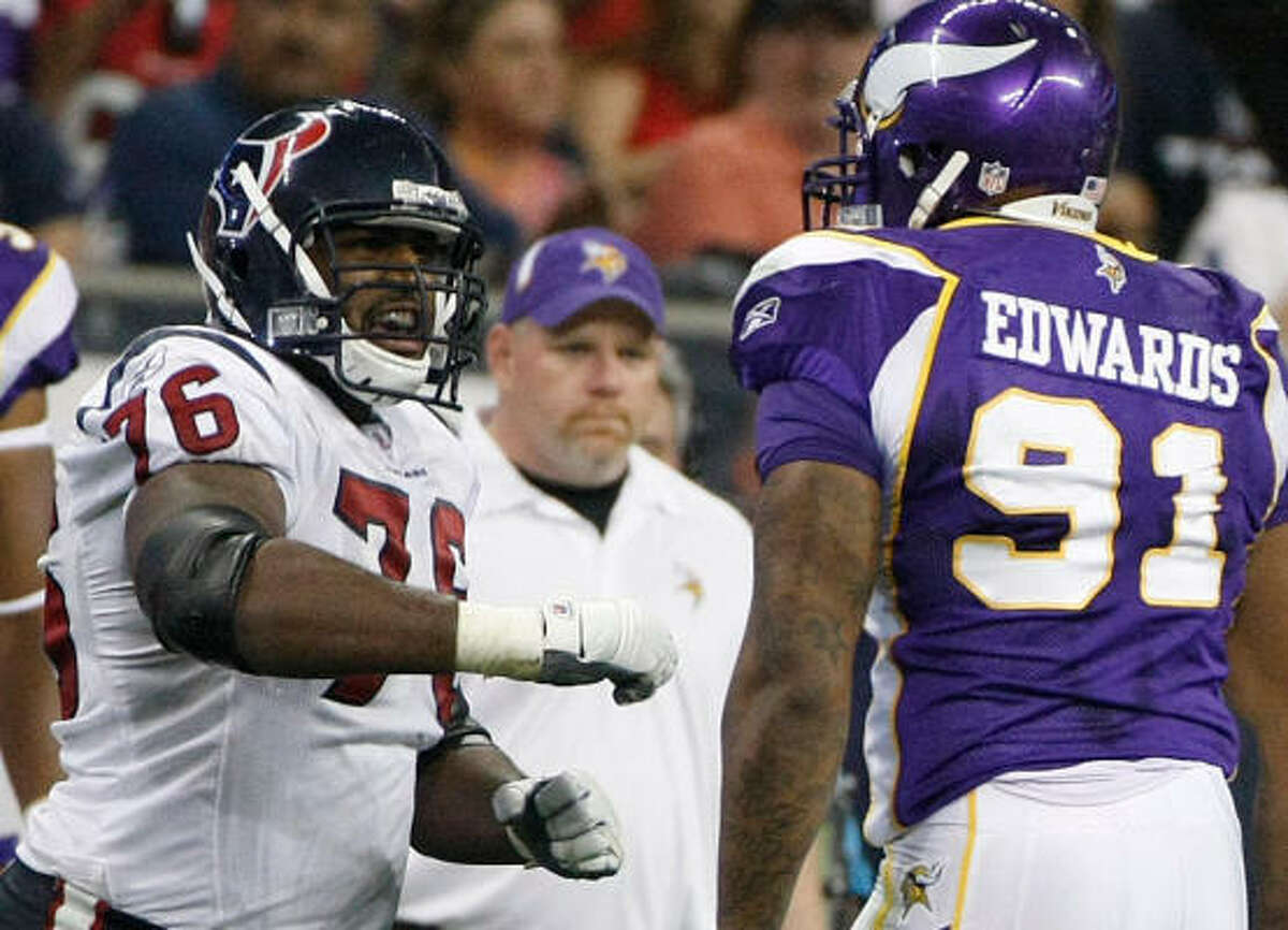 Texans offensive tackle Duane Brown, left, will be replaced by Rashad Butler.