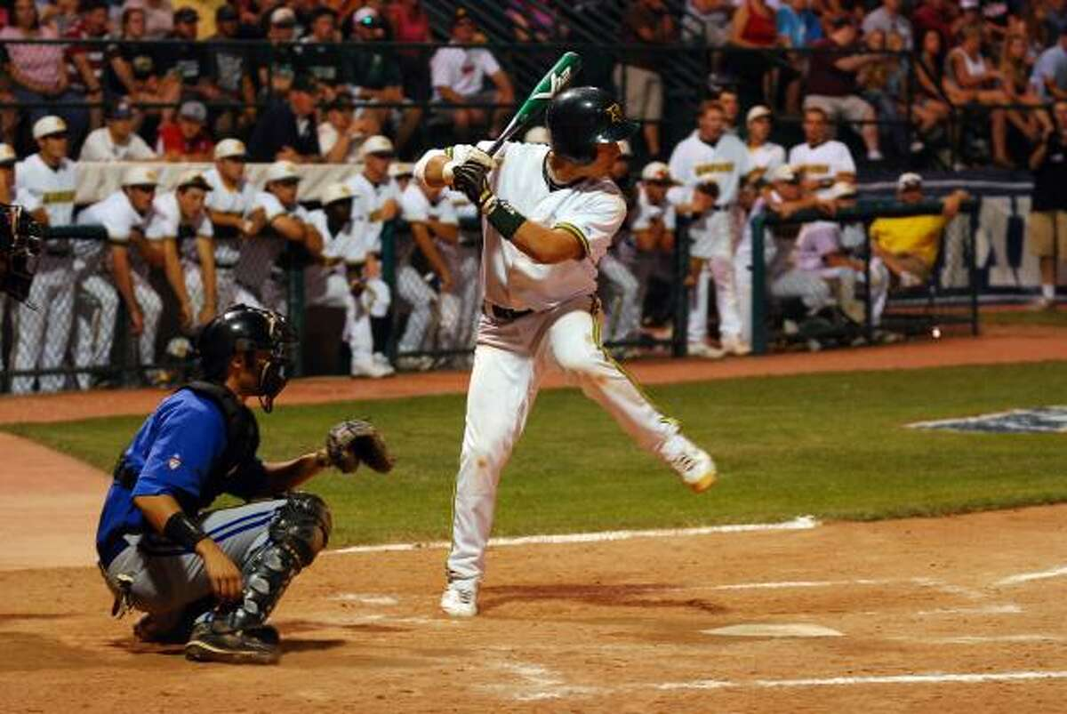 Larry Rodriguez hit a solo homer in the fifth during San Jacinto's loss to Iowa Western.