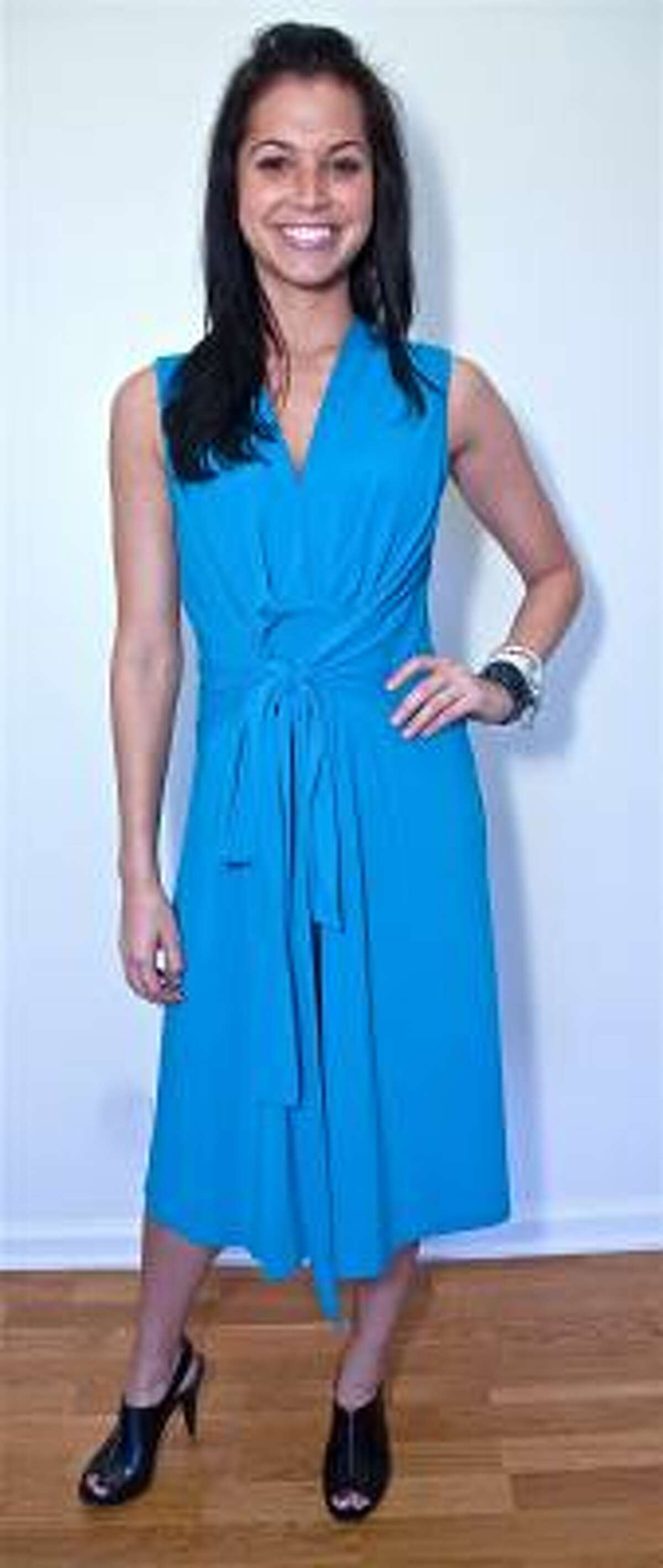 Melissa Rycroft Strickland wearing a new SIMPY by Chloe Dao dress exclusively available on QVC, $50.