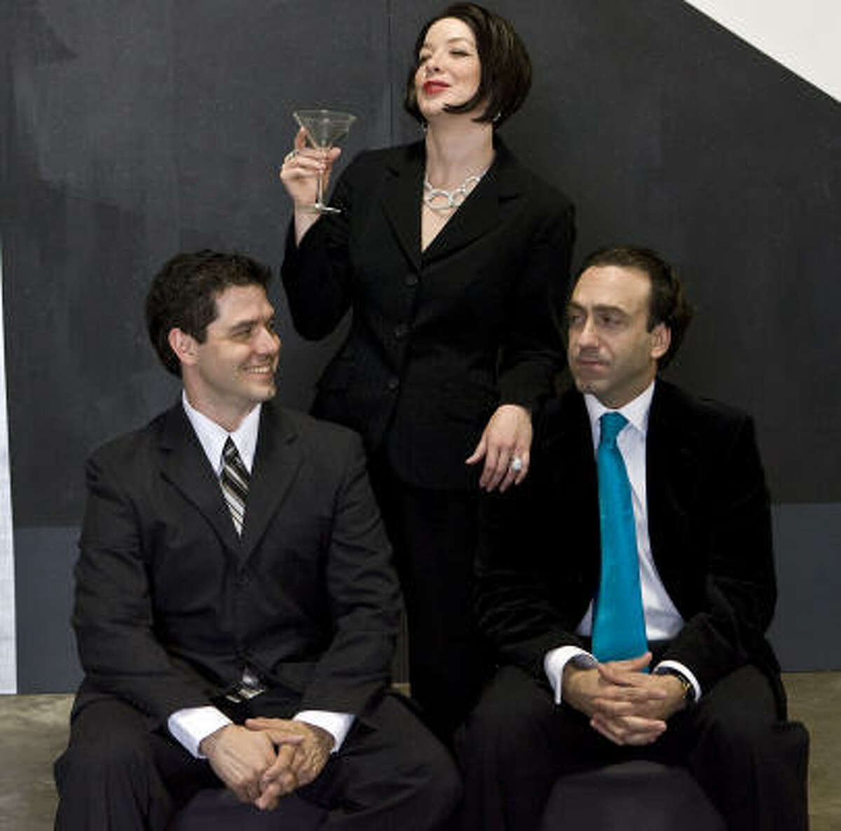 Bobby (Luther Chakurian, right) builds his social network around five married couples, including Larry (John Gremillion) and Joanne (Rebekah Dahl).