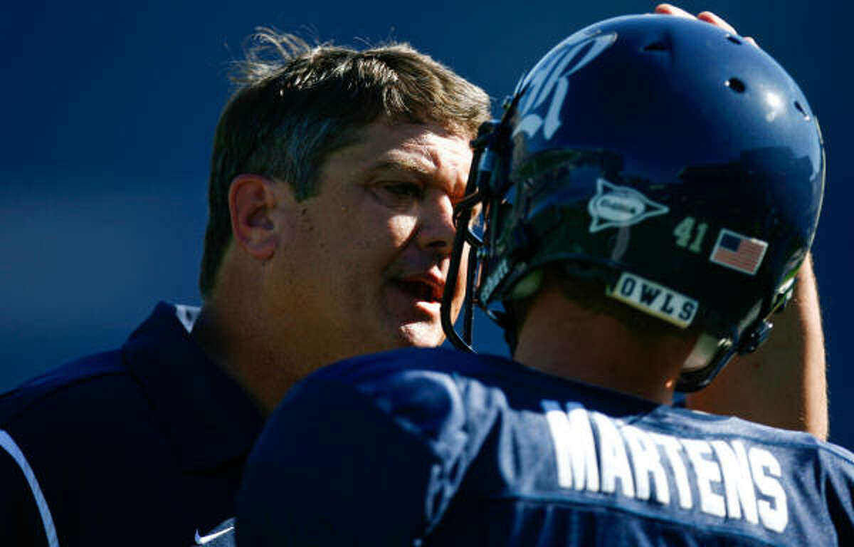 Rice punter Kyle Martens, shown here talking with head coach David Bailiff, focuses on his failures before every game.