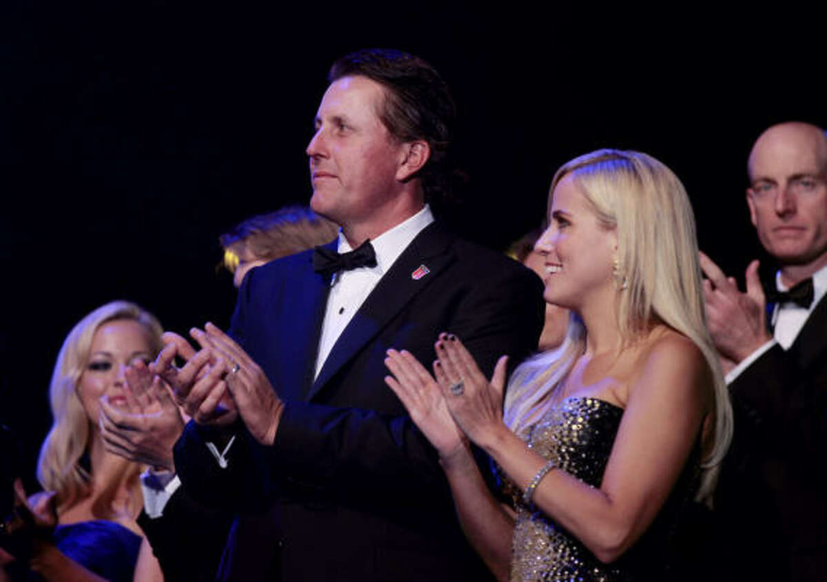 Phil Mickelson's spirits will be boosted this week by the presence of his wife, Amy, who accompanied her husband as the Ryder Cup teams were presented during a