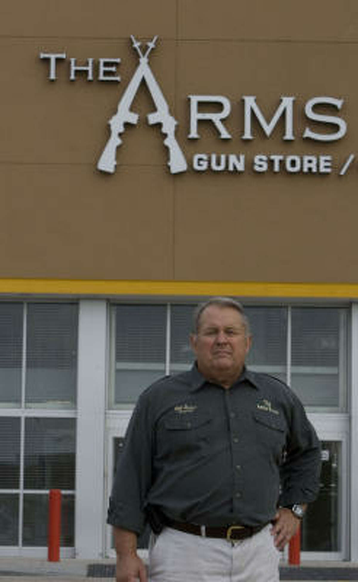 Bill James' Arms Room is an unusual occupant for a shopping center. Among the League City center's tenants are a SuperTarget, a Home Depot and a PetSmart.