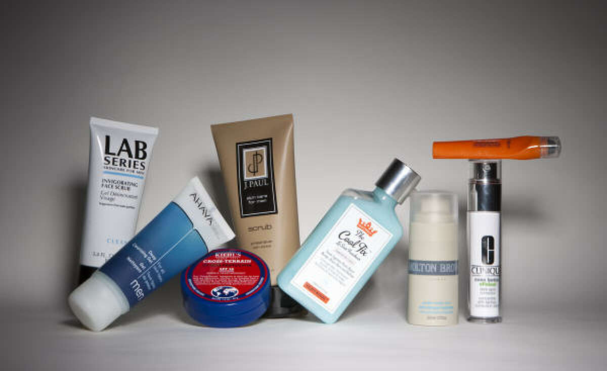 Lab Seiries Skin Care for Men, from left, Ahava Deep Clensing Gel, Kiehl's Cross-Terrain UV Skin Protector SPF 50, Shaveworks The Cool Fix, Molton Brown Power Boost Zinc Power Hydrator, Clinique Dark Spot Corrector, and L'Oreal Men Expert Eye Roller.