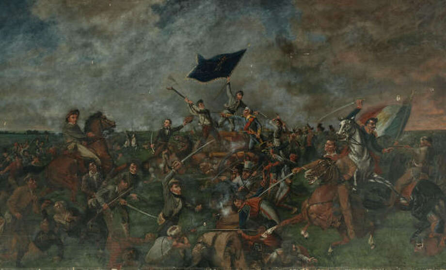 Its whereabouts publicly unknown for nearly a century, this historic 1901 oil painting depicting the Battle of San Jacinto has been found in the attic of a West Virginia house. Photo: Heritage Auction Galleries