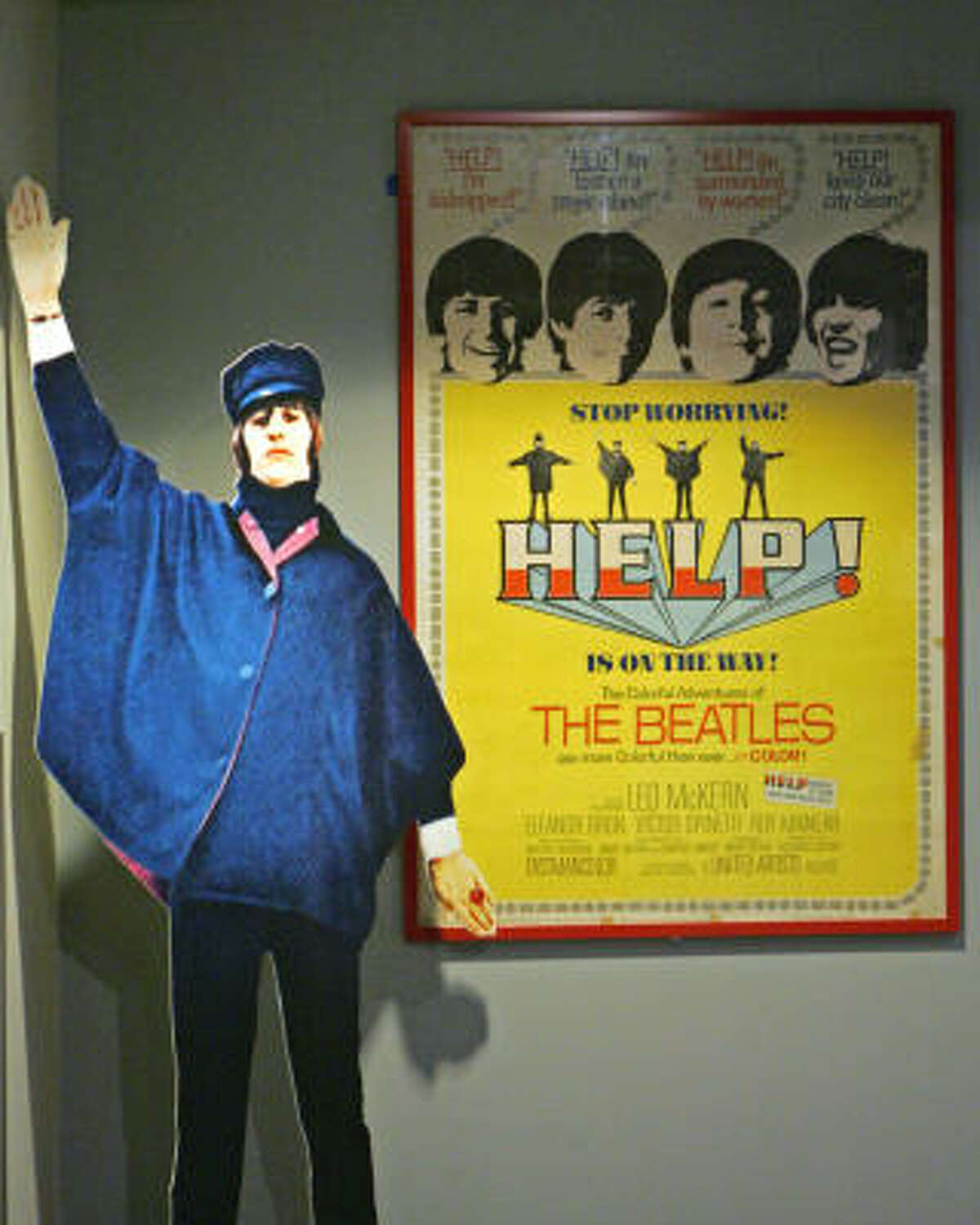 A cutout of Ringo Starr at the Rock and Roll Hall of Fame.