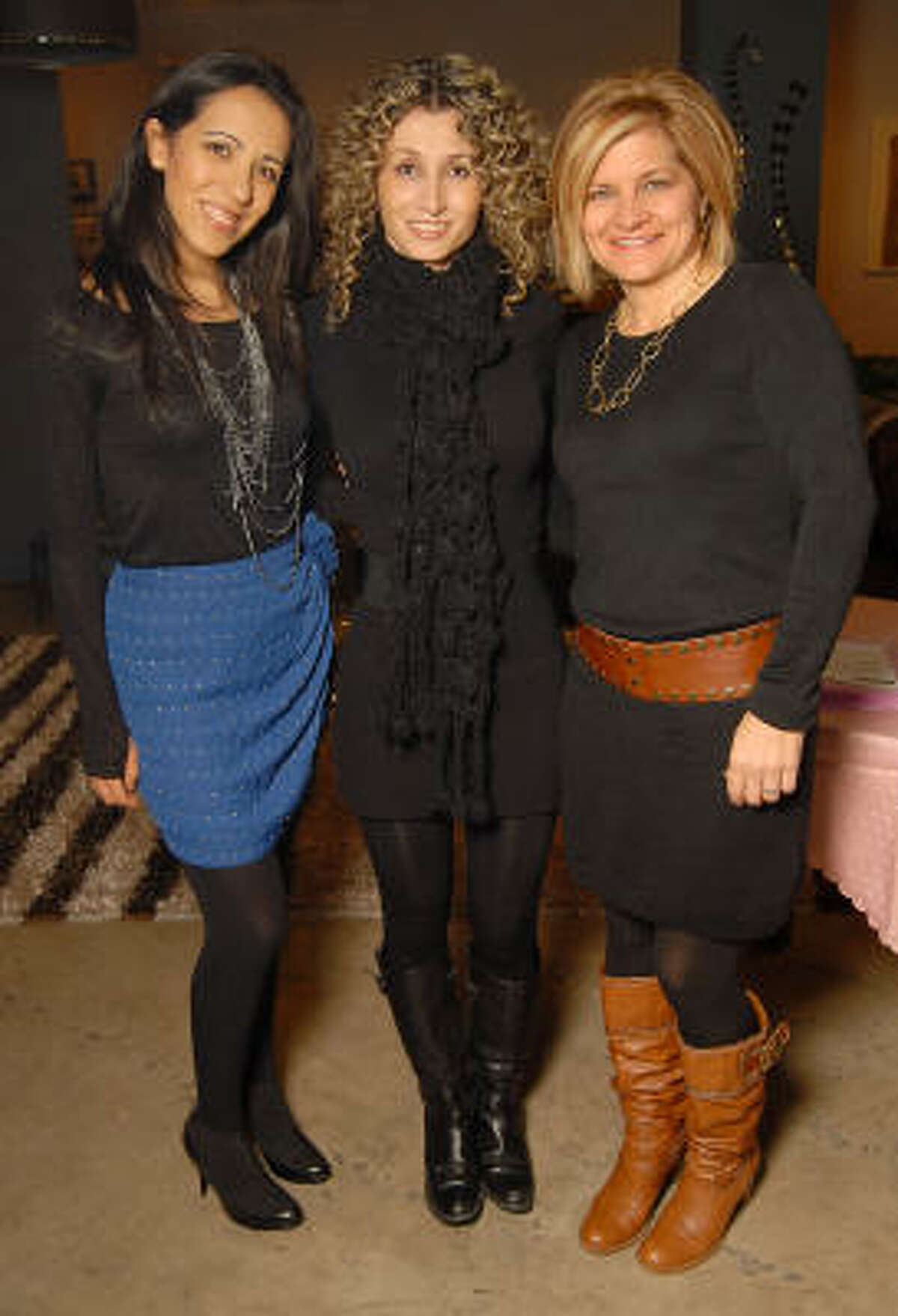 Paulina Garcia, from left, Adriana Gonzalez and Kathy Dimmitt at the Les Provinciales Design for a Cause event at Roche Bobois