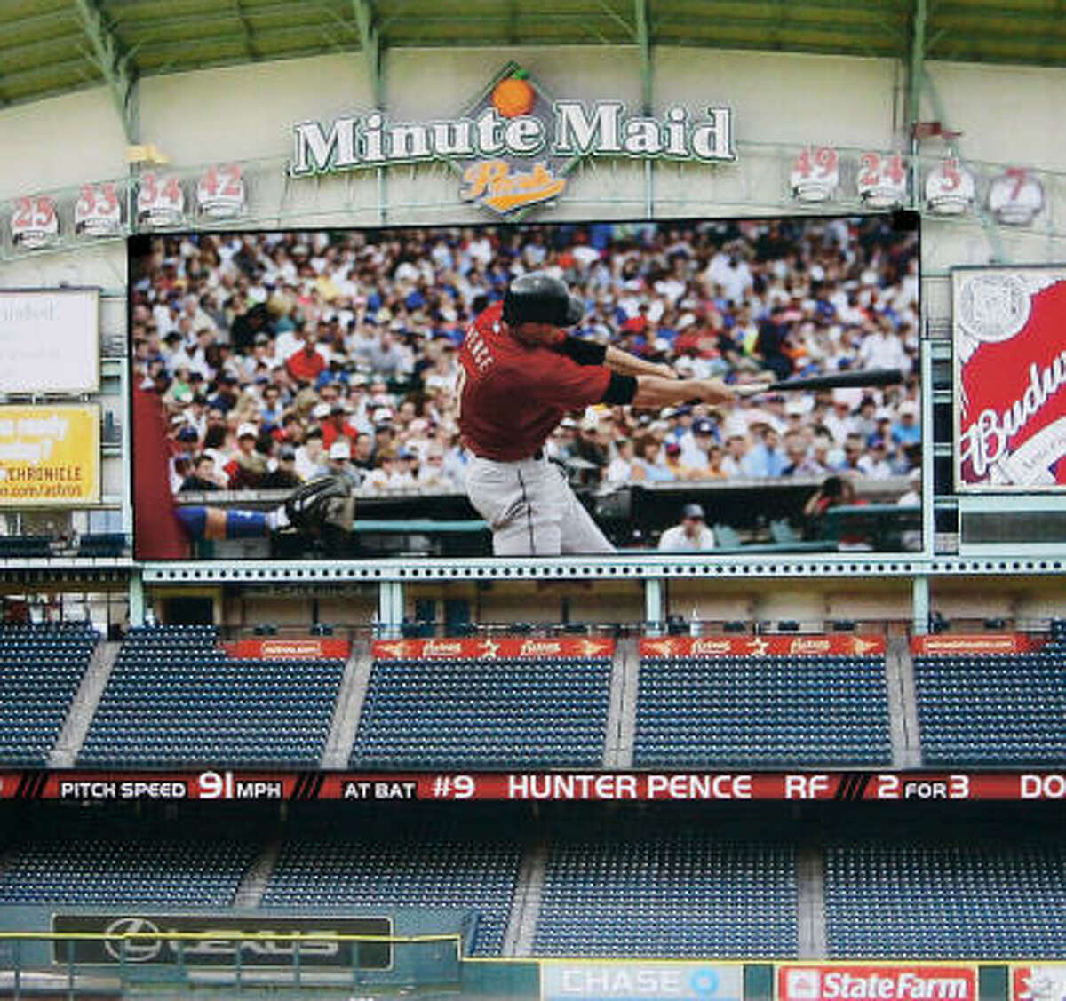 An artist's rendering depicts the proposed high-definition board at Minute Maid Park. The screen would be the second largest in Major League Baseball.