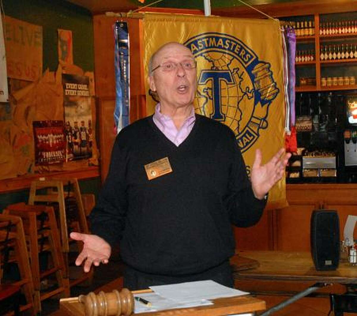 DAVID HOPPER: FOR THE CHRONICLE HEAR, HEAR: Jay Strickland, of The Woodlands, gives a humorous speech during The Woodlands Toastmaster's Club meeting at Skeeter's, 4747 Research Forest Drive. Strickland recently won accolades for most humorous speech in The Woodlands Toastmaster's Club.
