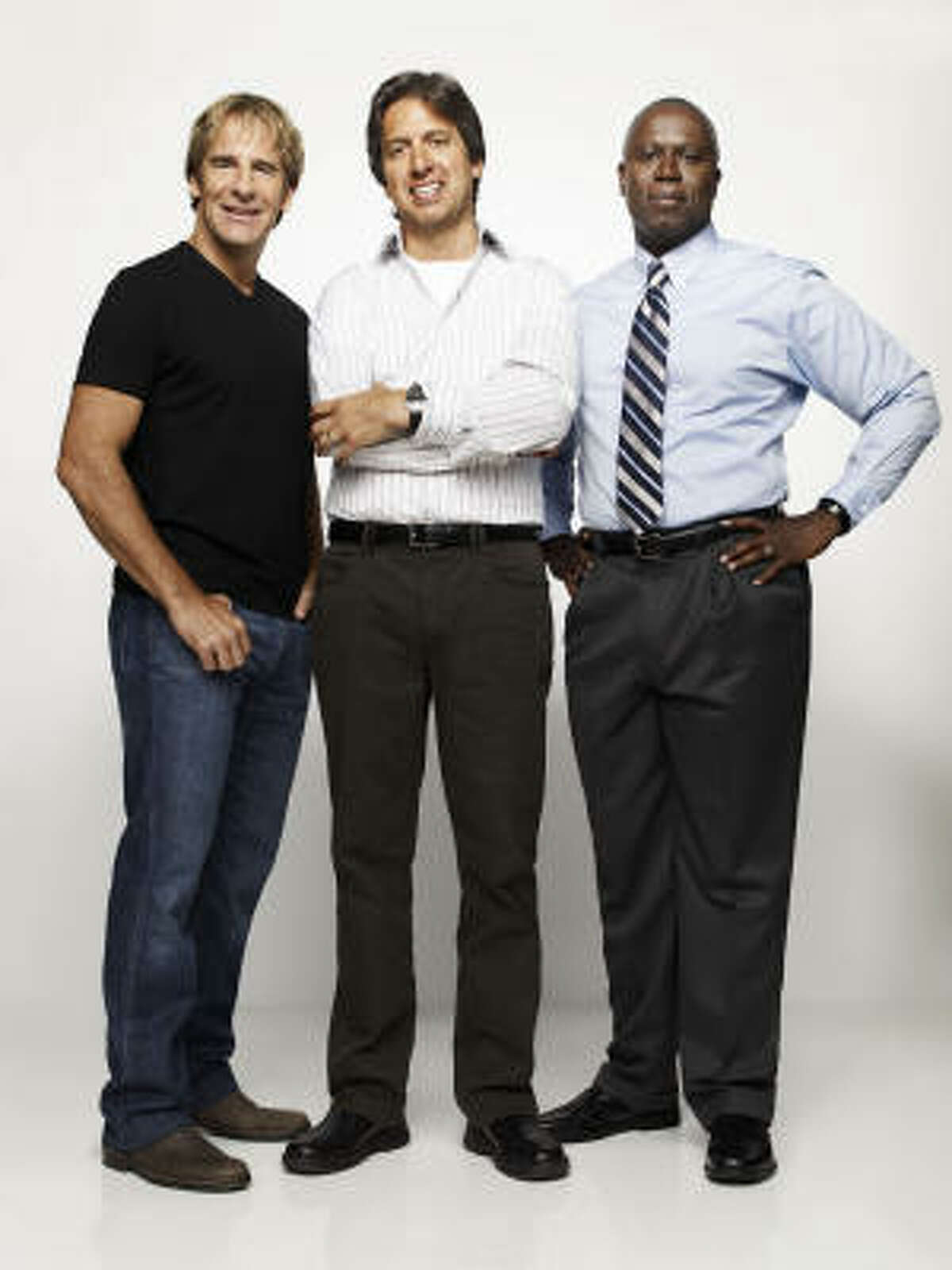 Scott Bakula, from left, Ray Romano and Andre Braugher star in Men Of A Certain Age.