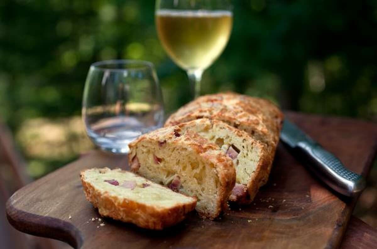 Savory Ham and Gruyere Bread pairs well with sparkling wine, rosés and light whites.