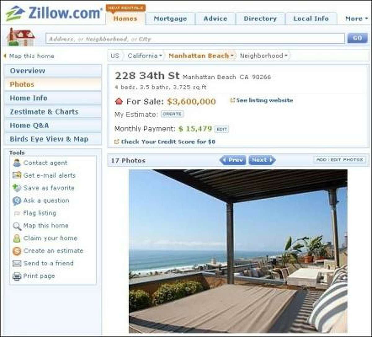 PACIFIC DEAL: The Manhattan Beach, Calif., home of Atlanta Falcons tight-end Tony Gonzalez is for sale for $3.6 million.