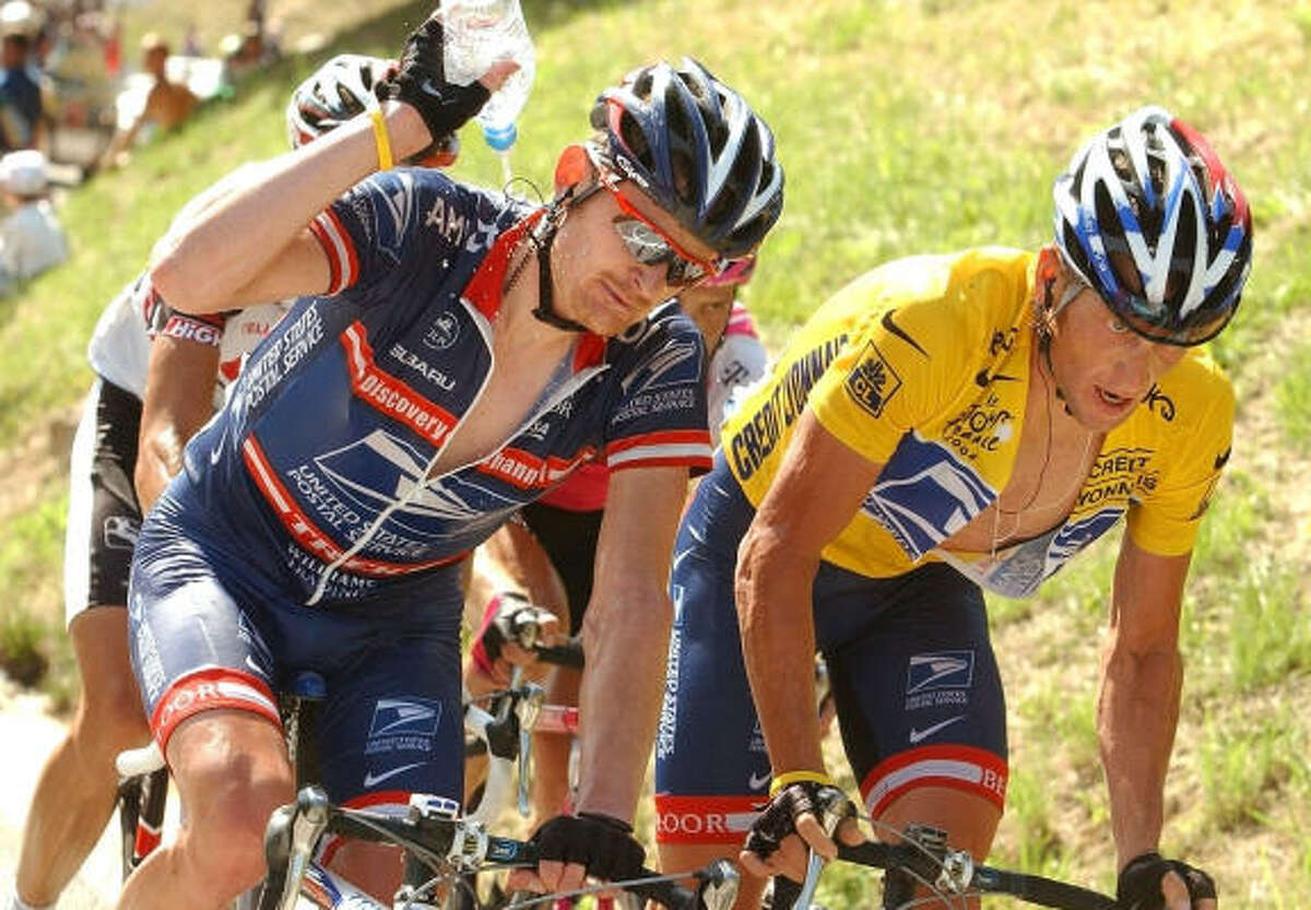 Floyd Landis, left, accused seven-time Tour de France champion Lance Armstrong, right, of involvement in doping, according to a Wall Street Journal report.