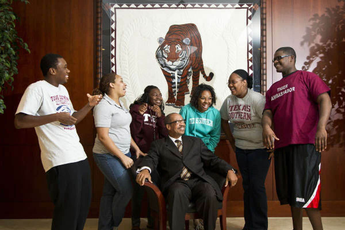John Rudley has recruited students from around the country since he became president of Texas Southern, including students from his hometown, Benton Harbor, Mich., such as Davion Crump, left, Danielle Rudley, Jasmine Moore, Kayla Hurse, Jazsmine Griffin and Denzel Dortch.