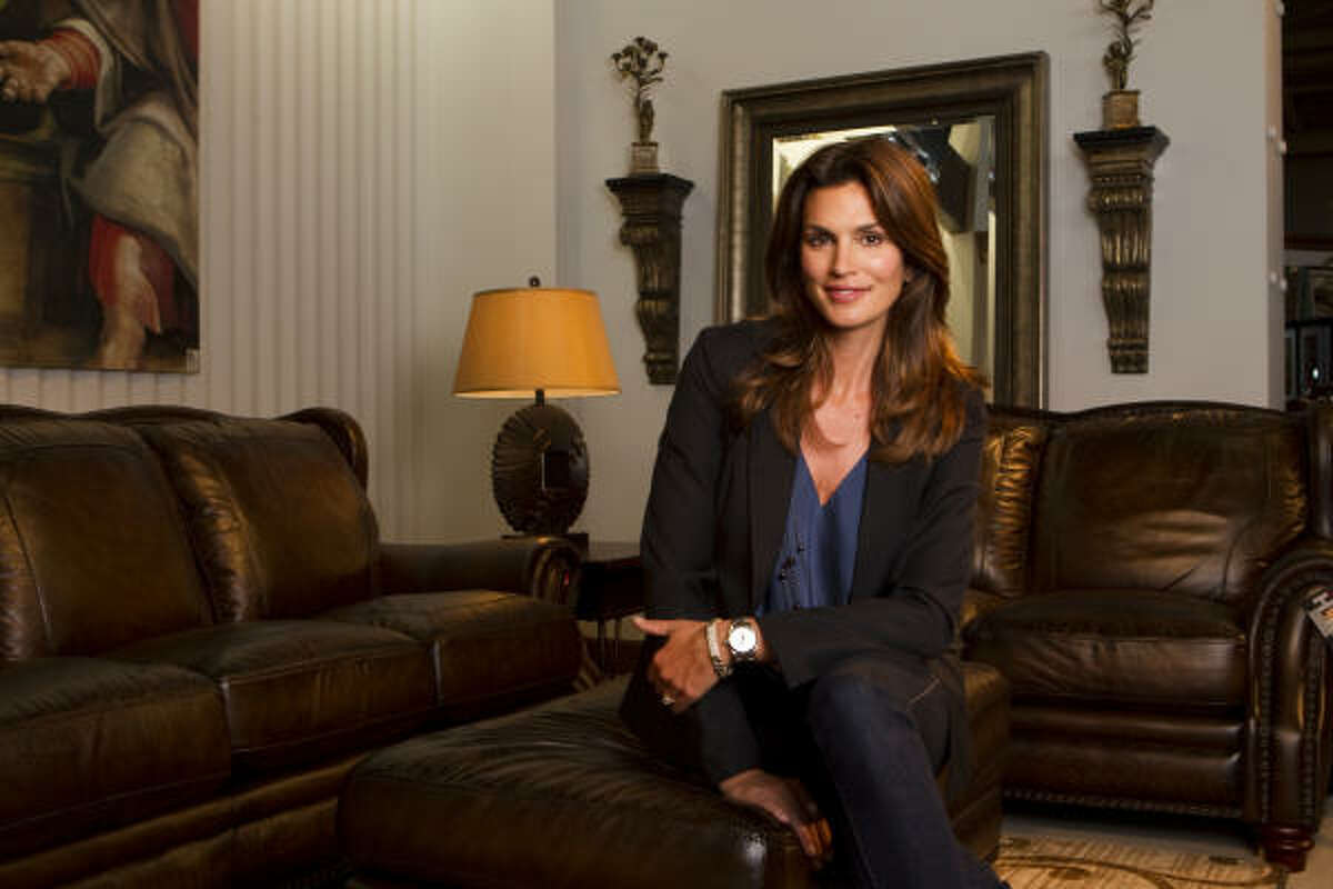 Former supermodel Cindy Crawford's collection for Rooms To Go includes traditional, contemporary and leather options. Functionality is key, the mother of two says.