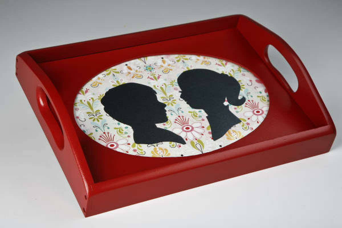 Serve breakfast in bed on a personalized silhouette tray.
