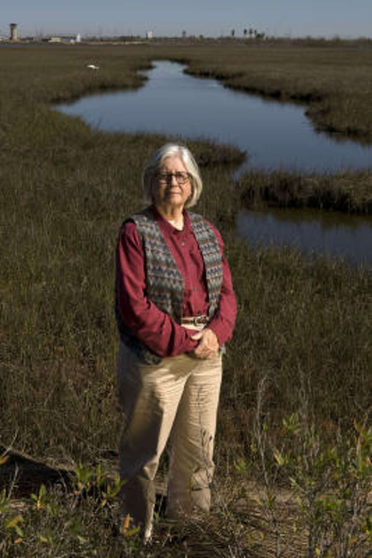 Alice Anne O'Donell, of the Galveston Recovery Committee, has helped write a wetlands ordinance that is running into fierce opposition from developers.