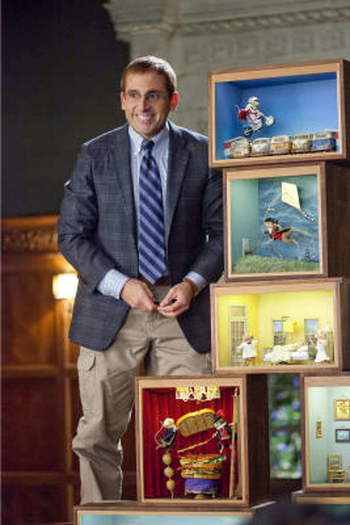 In Dinner for Schmucks, Steve Carell plays Barry, a socially awkward IRS employee who makes dioramas using dead rodents.