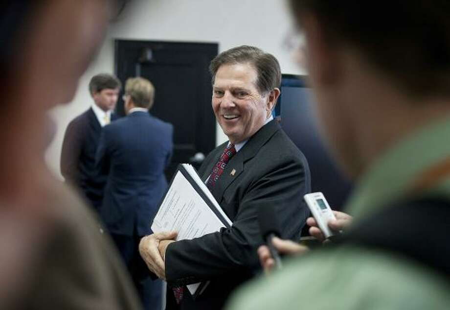 Former U.S. Rep. Tom Delay, R-Sugar Land, was indicted five years ago on charges that he illegally funneled corporate money to help Republicans in Texas legislative races. Photo: Ben Sklar, Getty Images