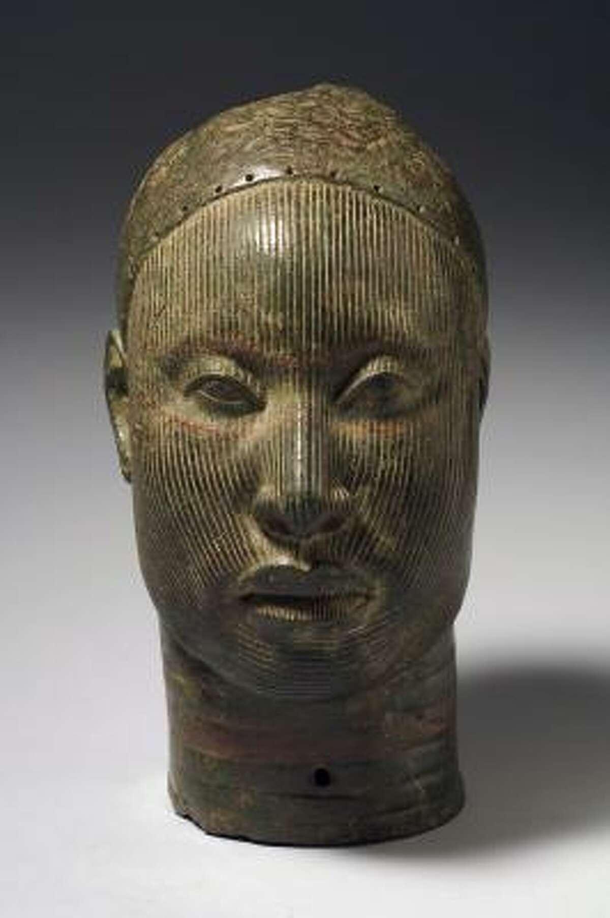 Head Wunmonije Compound, Ife 14th-early 15th century, copper alloy