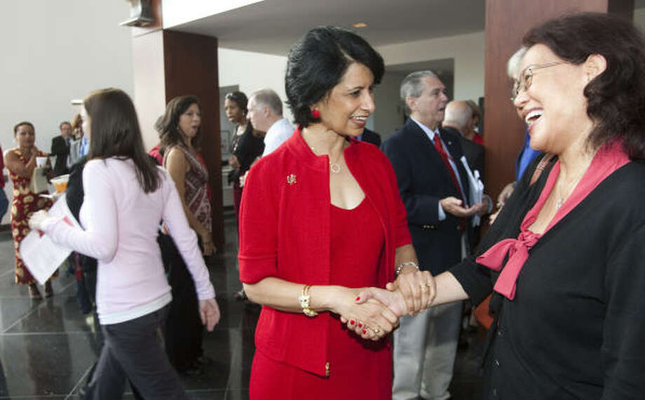 University of Houston Chancellor Renu Khator mingles with the crowd following her annual fall address at the Moores Opera House on the UH campus. Photo: Brett Coomer, Chronicle