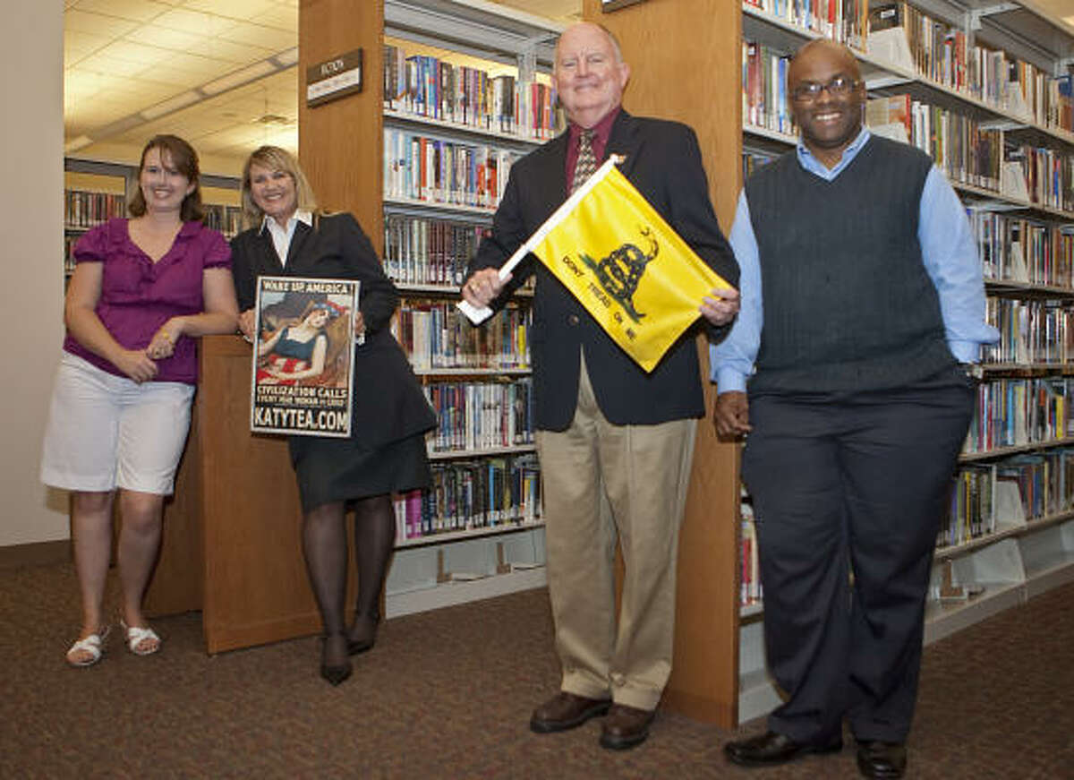 LOCAL LEADERS: Katy Tea Party leaders Darcy Kahrhoff, left, Jennifer Heiden, William Proctor and Henry Dibrell are planning an October meeting at the Cinco Ranch Branch Library.
