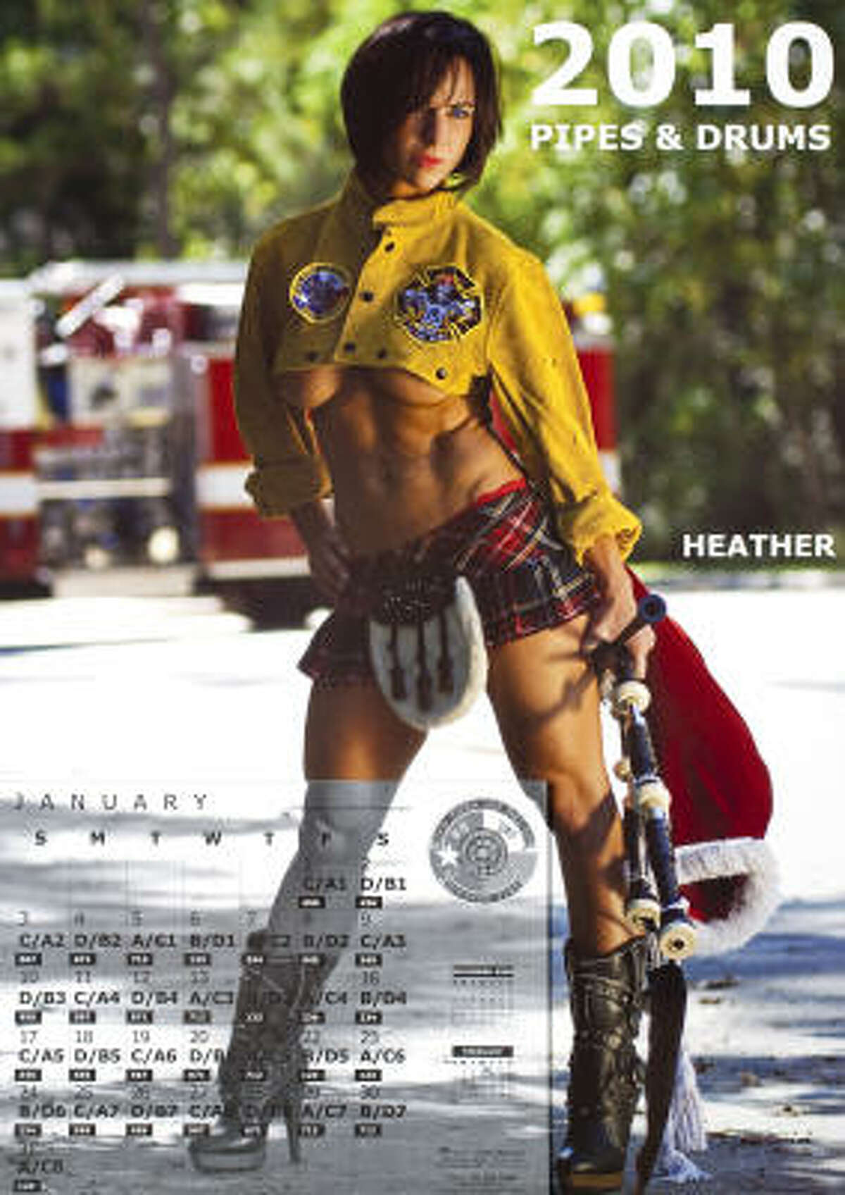 "Critics of HFD say a Pipes & Drums calendar is an example of disrespect toward women. One of its models, firefighter Heather Arnold, above, admits her photo was ""risque,"" but it's a fundraiser for a good cause."