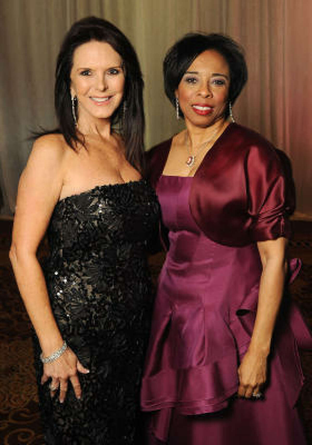 Chairs Connie Cooke, left, and Phyllis Williams at the Winter Ball benefiting the Houston Gulf Coast/South Texas Chapter of the Crohn's & Colitis Foudation of America.