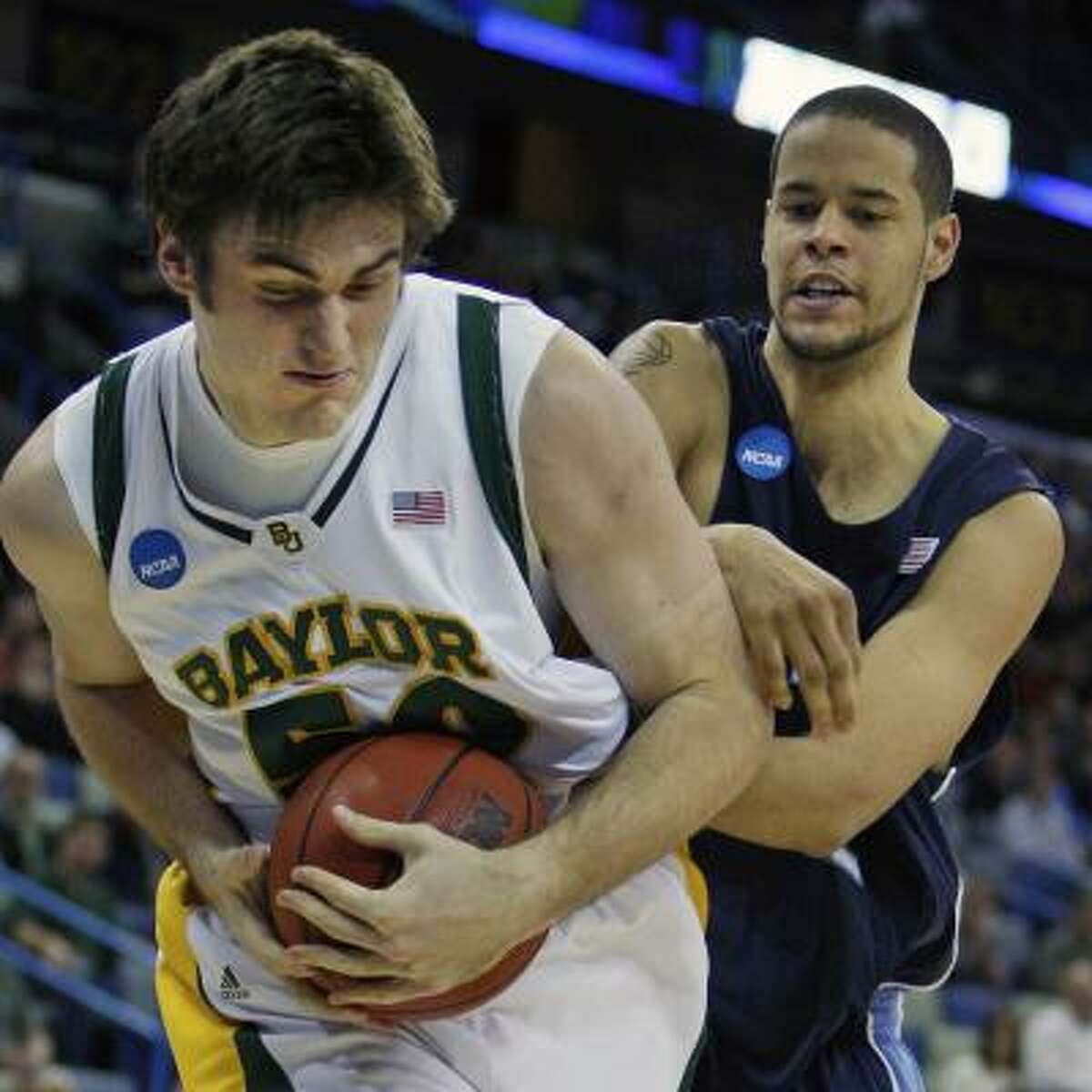 Baylor center Josh Lomers came up big in the second half, scoring 12 points and pulling down five offensive rebounds.