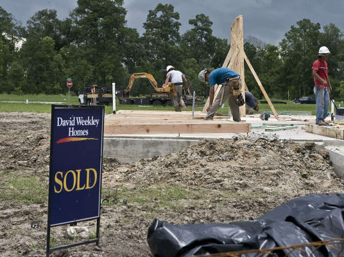 A home under construction in the Summerwood subdivision is part of the Houston area's strong wave of home starts in the second quarter.