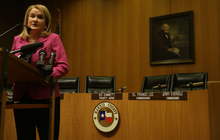 Harris County Commissioner Sylvia Garcia speaks during her news conference Nov. 3, 2010, about her election loss. She served two terms on the court and was the first Hispanic elected to the court when she won in 2002. Photo: Karen Warren, Chronicle