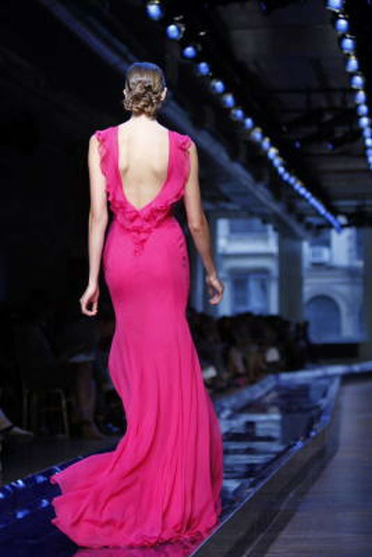 A backless dress from Jason Wu's Spring 2011 collection is modeled during Fashion Week in New York.
