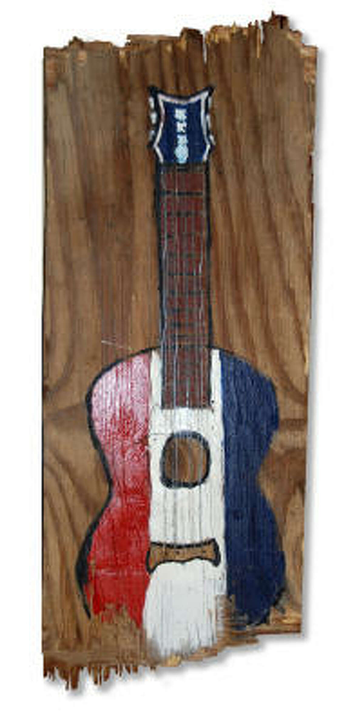 Buck Owens guitar painting by singer-songwriter Tim Easton as part of his This Machine Kills Apathy series.