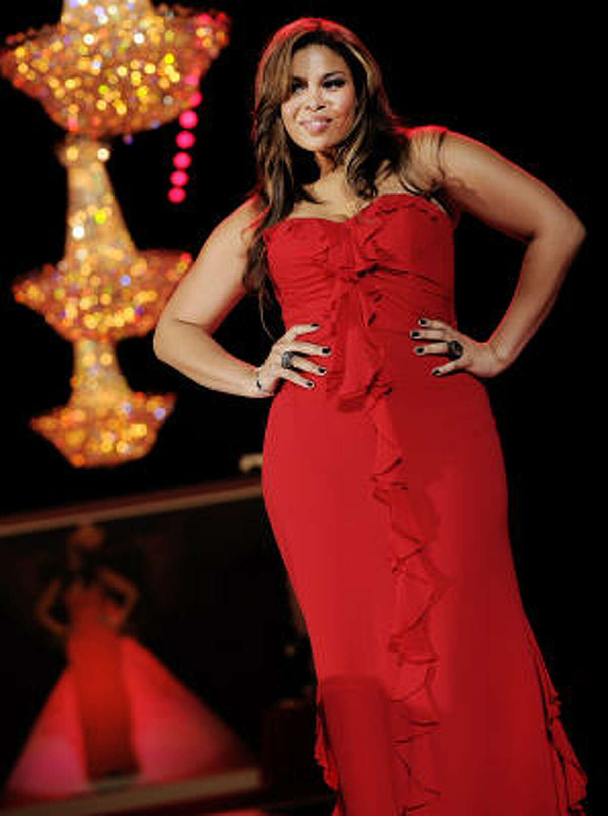 Jordin Sparks models a Badgley Mischka design from the Heart Truth Red Dress collection.