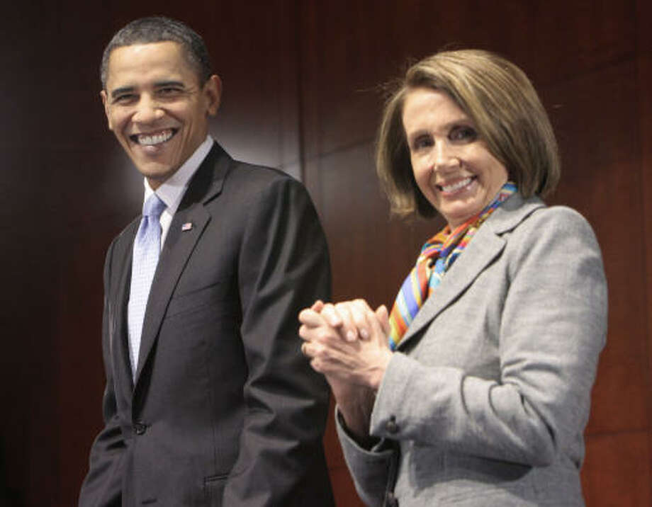 "President Barack Obama, shown with House Speaker Nancy Pelosi, told Democrats on Saturday that their support for the health care overhaul ""will end up being the smart thing to do politically."" Photo: Pablo Martinez Monsivais, Associated Press"